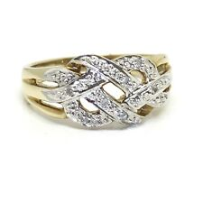 Vintage Wide Crossover Diamond Knot 9ct Gold Ring Circa.1970 Size O