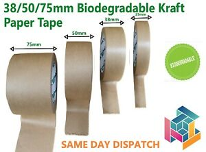 25/38/50/75mm x 50m Biodegradable Brown Kraft Paper Tape Eco Friendly Recyclable