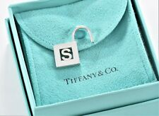 Tiffany & Co Silver Letter S Pad Lock Love Charm For Necklace Bracelet w/ Pouch