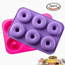 2 Pack Donut Baking Pan Silicone Non-Stick Mold Cake Doughnuts Mousse Dessert 3D