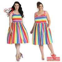 Hell Bunny  50s Over The Rainbow Retro Summer Vintage Swing Womens Strip Dress