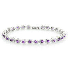 LOVELY 2.70 CT AMETHYST & CREATED DIAMOND 925 STERLING SILVER BRACELET