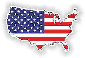 1x STICKER USA SILHOUETTE FLAG BUMPER DECAL MAP FLAG