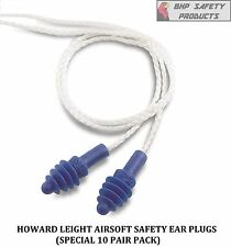 (10 PAIR) HOWARD LEIGHT DPAS-30W AIRSOFT REUSABLE EAR PLUGS W/ WHITE CLOTH CORD