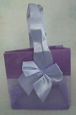 """2 Small Lavender Purple Organza Jewelry 3x2x3"""" Gift Tote Bags Satin Bow & Handle"""