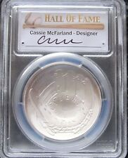 """CASSIE McFARLAND SIGNED """"FIRST STRIKE"""" MS70 SILVER CURVED 2014 BASEBALL $1 COIN"""