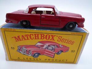 VINTAGE MATCHBOX LESNEY No.53b MERCEDES BENZ 220SE IN ORIGINAL BOX ISSUED 1963