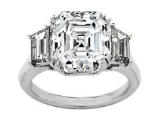 2.66 Carat Asscher Cut Diamond Engagement Ring F VS1