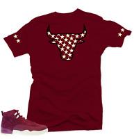 Shirt to match Air Jordan Retro 12 Bordeaux Sneakers.Bull XII Maroon Tee