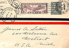 MS2223* 1930 GB USA MIXED FRANKING Stratford-on-Avon San Francisco AIR Detroit