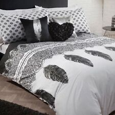 LUXURY Silver Metallic Black White Feather KINGSIZE Duvet Set NEW Chic Boudoir