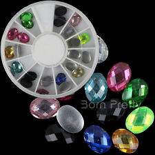24Pcs/Box 3D Nail Art Oval Grid Gems Crystals Rhinestone Beads Decoration