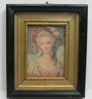 "Vintage Framed Lithograph Victorian Lady Pink Roses Bonnet 6"" x 5"""