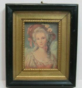 "Vintage Framed Lithograph Victorian Lady Pink Roses Bonnet 6"" x 5"""
