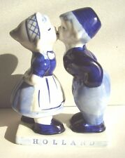 Holland Cobalt Blue Hand Painted Kissing Boy & Girl Porcelain Figures 5 inches