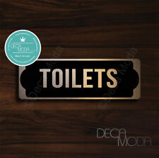 Toilets Door Sign, Brushed Copper Finish Toilets Door Sign, 9 x 3 inches