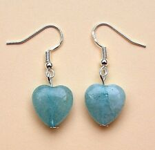 Aquamarine Gemstone Heart Earrings with Sterling Silver Hooks LB1388