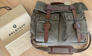 Belstaff Colonial Canvas/leather Messenger Bag Mountain Green RRP £375