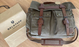 Belstaff Colonial Canvas/leather Messenger Bag Mountain Green RRP £379