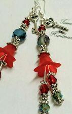 Artisan Red Boho Lucite flower glass beads dangling earrings