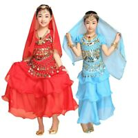Children Belly Dance Top Skirt Suit Outfit Bollywood Carnival Costume Girls Kids