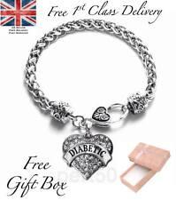 High Quality Diabetic Alert Heart Charm Bracelet Medical Mothers Day Birthday UK