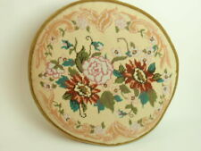 Vintage Hand Crafted Needlepoint Pillow Large Round Victorian Colors Flowers 70s
