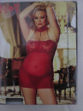 X90230 - Chemise with chocker and rinestone strands, red, O/S Plus (16/18)