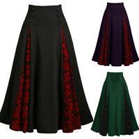 Women Lace Patchwork High Waist Midi Skirt Gothic Halloween Style Pleated Skirts
