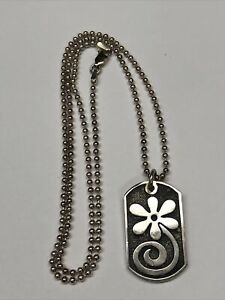 """King Baby Sterling Silver Chain Necklace Dog Tag Charm Flower 22"""" Chain"""
