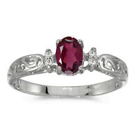 14k White Gold Oval Rhodolite Garnet And Diamond Filigree Ring