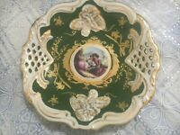 Vintage Limoge Design Display Plate Courting Couple Green Gold With Easel