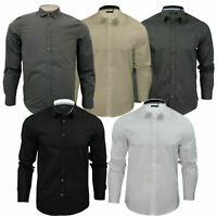 Mens Long Sleeved Collared Shirt TUDOR Brave Soul Plain Button Through Designer