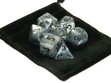 Wiz Dice 7 Die Polyhedral Set Quick Silver Marble With Dice Bag