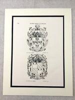 English Nobility Heraldry Heraldic London Coat of Arms Genuine Antique Print