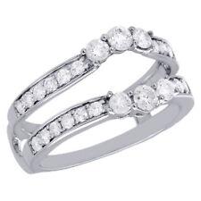 14K White Gold 3 Stone Diamond Enhancer Wrap Jacket Contour Wedding Ring 1 Ct.