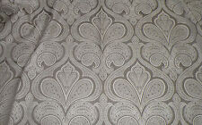 Drapery/Upholstery Weight Gray & White Paisley Medallion Fabric