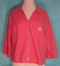 Bobbie Brooks Woman 22W Blouse Salmon Linen Blend Embroidered 3/4 Sleeve Plus