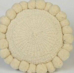 "Home Decor Throw Pillow/Cushion for Living Room/Bedroom 12"" Sheep Wool CS5 Beige"