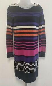 Hobbs UK10 multicoloured long-sleeved knit silk/cotton/cashmere jumper dress