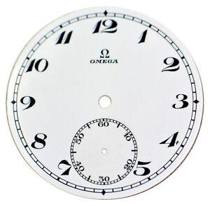 Orig. NOS Vintage Omega Porcelain Pocket Watch Dial with Sunken Seconds Track #7