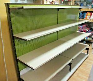 Laden Supermarkt Kiosk Regal Gondel 1x2m lang 1,40 hoch mit grüner Lochwand