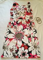 London Times Sheath Dress Floral Sleeveless Tied Back Size 10 Pink White Black