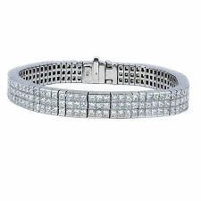 15.03 quilate DIAMANTE TALLA Princesa Tenis Brazalete G VS1 18ct oro ORO BLANCO