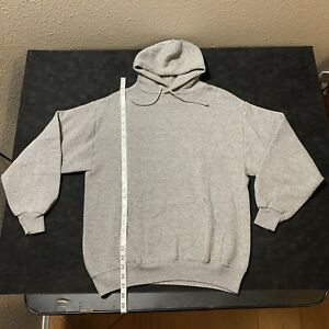 Vintage 90s Russell Athletic Tri Blend Gray Hoodie Made In USA Blank Size Large