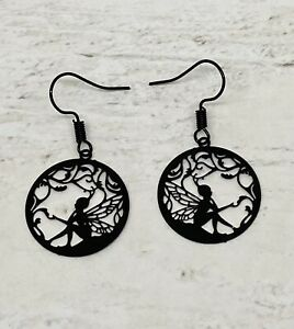 Black Fairy  Earrings Goth Kitsch New Age Pagan Fantasy Novelty Delicate Magic