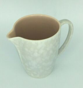 Vintage Poole Pottery twintone tall milk jug in Peach Bloom and Seagull