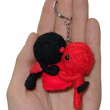 2 X Voodoo Doll Keyrings Valentines Day Red Love Heart Cherubs Couple Key Chains