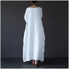 Plus Size UK Womens Long Sleeve Cotton Linen Long Maxi Dress Ladies Baggy Kaftan