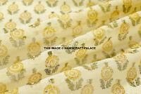 Indian Hand Block Print Pure Fabric Running By Yard Chanderi Silk Dress Fabric